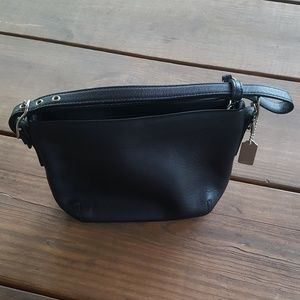 Coach black leather mini purse